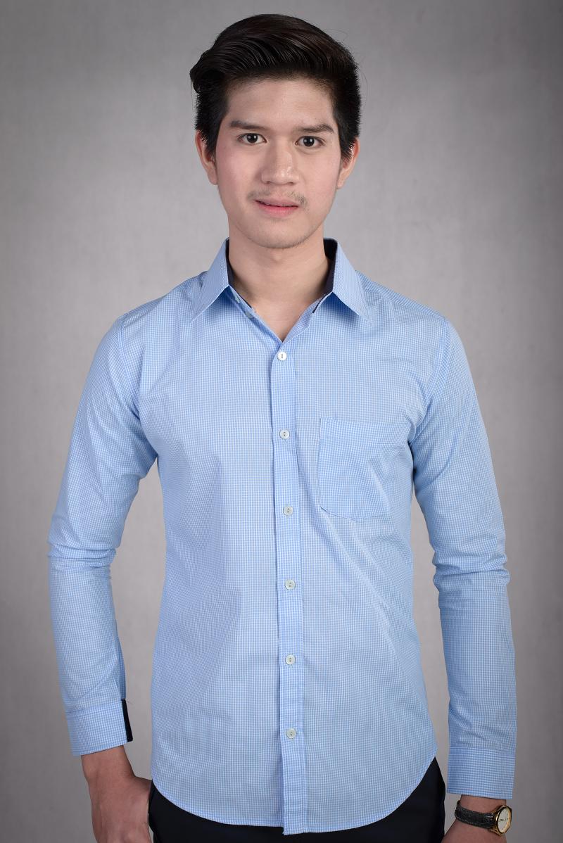 เสื้อเชิ้ตผู้ชายลายตารางสีฟ้า ผ้าคอตตอน