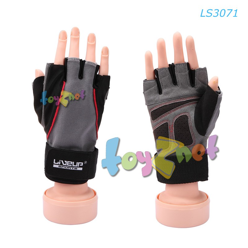 Liveup ถุงมือออกกำลังกาย มีสายรัดผยุงข้อมือ รุ่น LS3071