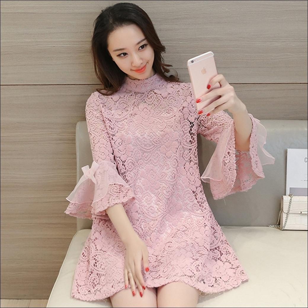 ชุดเดรสลูกไม้สีชมพู แฟชั่นน่ารักๆสไตล์เกาหลี