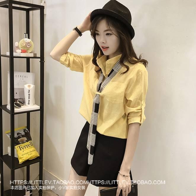 เสื้อแฟชั่น คอปีน แขน4ส่วน ผ้าซีทรู แต่งผ้าพันคอ สีเหลือง