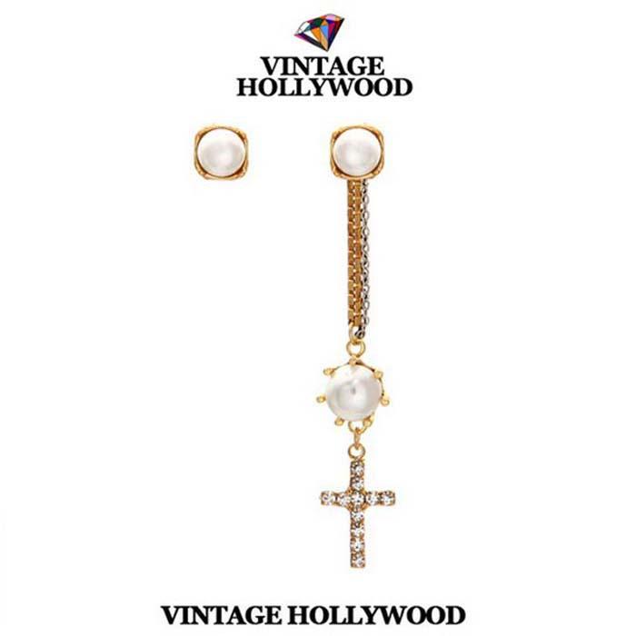 พร้อมส่ง ต่างหู กางเขน Vintage Hollywood