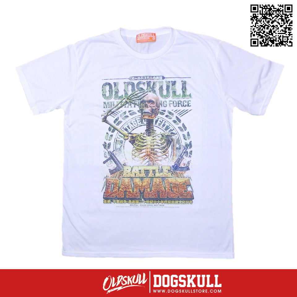 เสื้อยืด OLDSKULL : EXPRESS MILITIA FIGHTING FORCE | WHITE XL