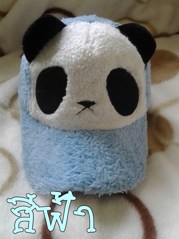 หมวกหมีแพนด้าขนปุย สีฟ้า