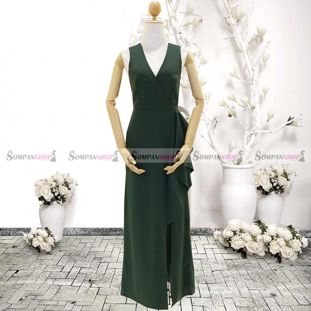 ชุดเดรสออกงานสีเขียว คอวี เอวจับจีบระบาย ลุคเรียบๆ สวยหรู ดูสง่า เหมาะสำหรับใส่ออกงาน ไปงานแต่งงาน ( พร้อมส่ง )