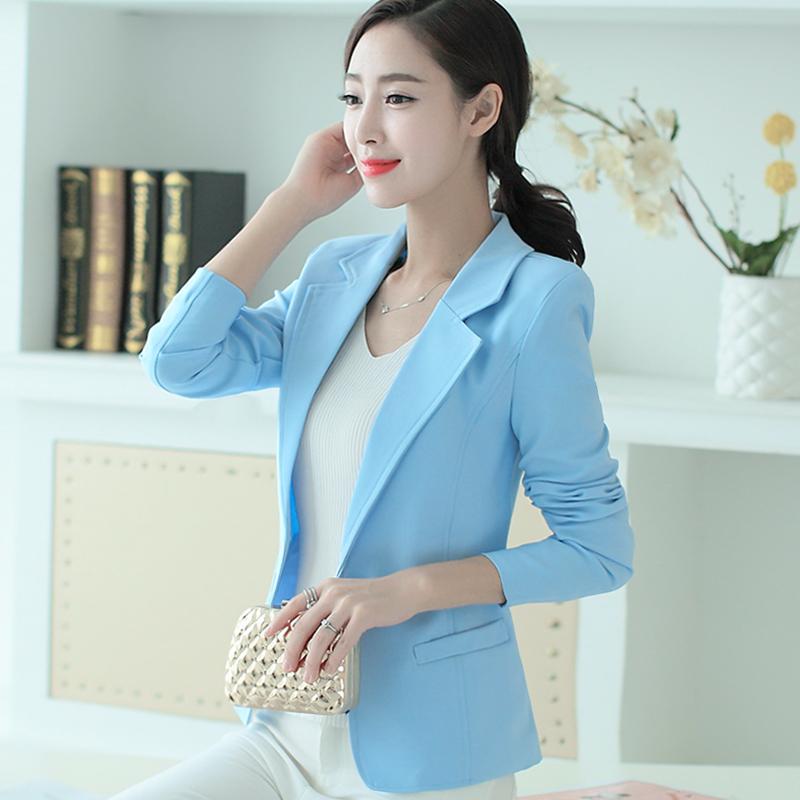 เสื้อสูททำงานผู้หญิงสีฟ้า แขนยาว ทรงสวย ลุคน่ารัก สดใส