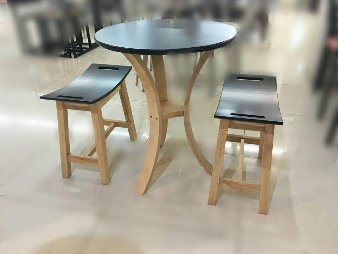 ชุดโต๊ะอาหารไม้ยาง 2 ที่นั่ง ราวไซด์