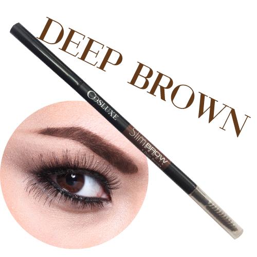 Cosluxe EYEBROWS SlimBrow Pencil # Deep Brown สีน้ำตาลเข้ม ดินสอเขียนคิ้ว แท่งหมุนแบบ Auto ไม่ต้องเหลา หัวเรียวเล็กเพียง 1 mm. *พร้อมส่ง*