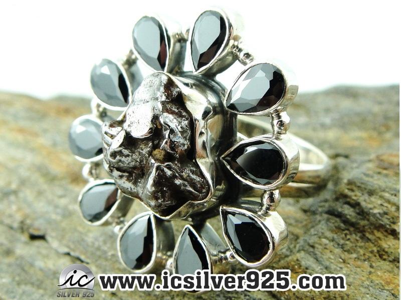 ▽Campo Del Cielo Meteorite แหวนเงินแท้ 925 (แหวนเบอร์ : 57 ,10.2g)