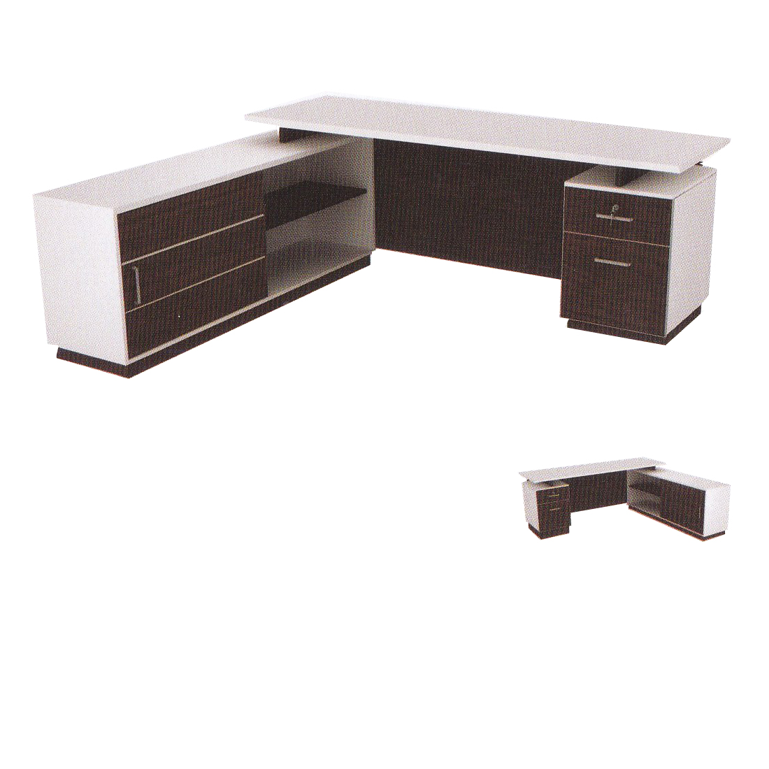 ชุดโต๊ะทำงาน 1.80 ม. 2 ลิ้นชัก+ตู้ข้าง TST-P1818