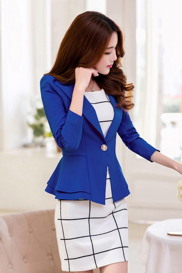 เสื้อสูทแฟชั่น เสื้อสูทผู้หญิง สีน้ำเงิน แขนยาว แต่งระบายชายเสื้อ 2 ชั้น