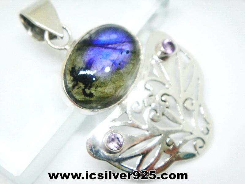 ▽ลาบราโดไรต์ Labradorite จี้เงินแท้ (5.9g )