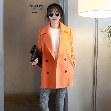 เสื้อโค้ทกันหนาวผู้หญิง สีส้ม คลุมสะโพก ใส่เที่ยวต่างประเทศสวยๆ