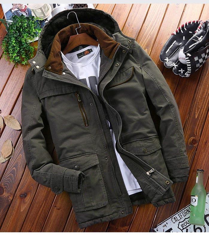 เสื้อกันหนาวผู้ชาย เสื้อแจ็คเก็ตผู้ชายมีฮู้ด ถอดได้ สีเขียวทหาร คอปีน ซับขนสัตว์ เท่ๆ