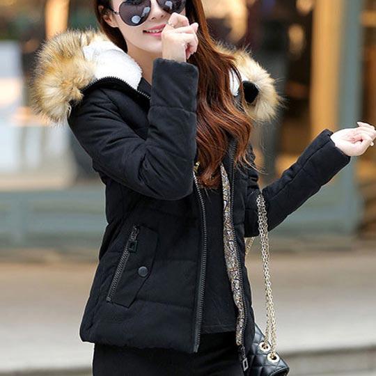 เสื้อกันหนาวผู้หญิงแฟชั่นเกาหลี สีดำ แจ็คเก็ตมีเฟอร์ขนสัตว์ รอบฮู้ด แบบถอดได้