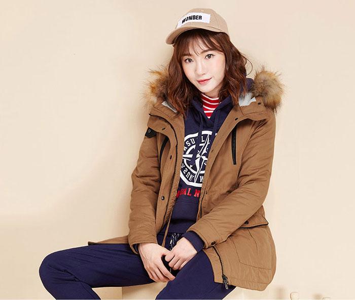 เสื้อกันหนาวผู้หญิงแฟชั่นเกาหลี สีน้ำตาล แจ็คเก็ตมีฮู้ด มีเฟอร์ขนสัตว์ ถอดได้