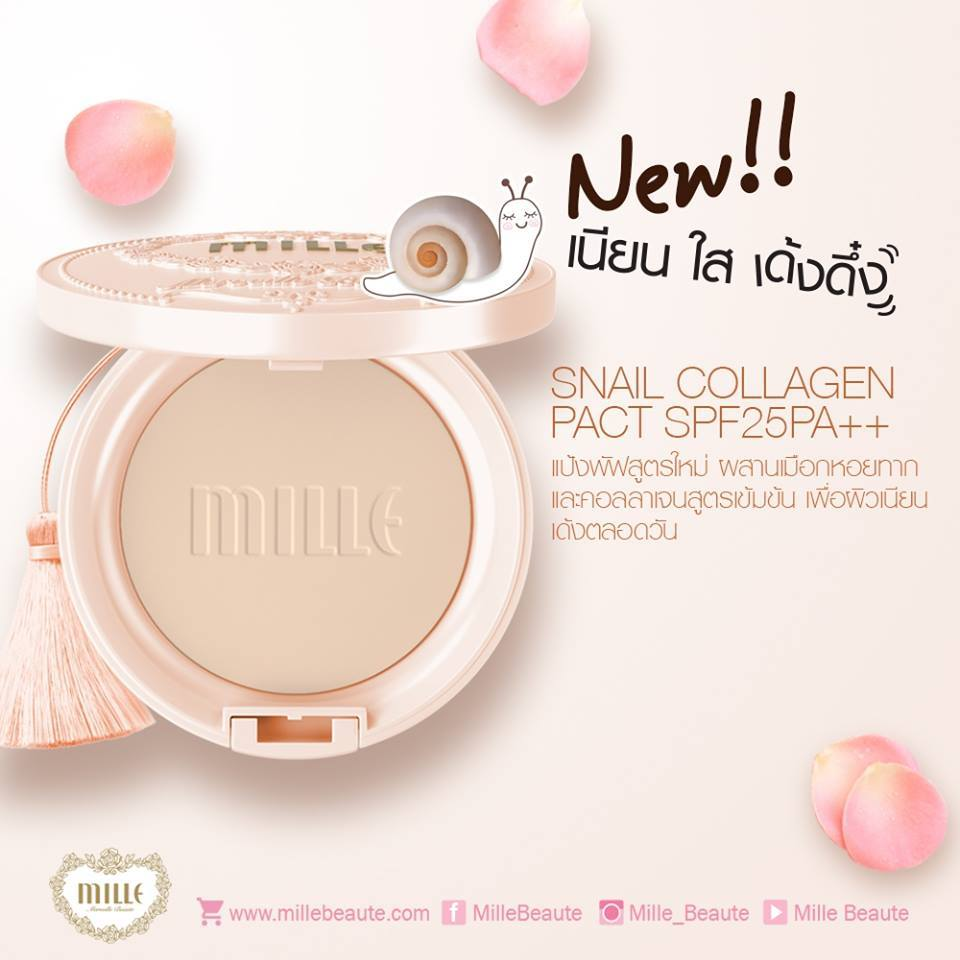 Mille Snail Collagen Pact SPF25 PA++No.1 Light ผิวขาวเหลือง