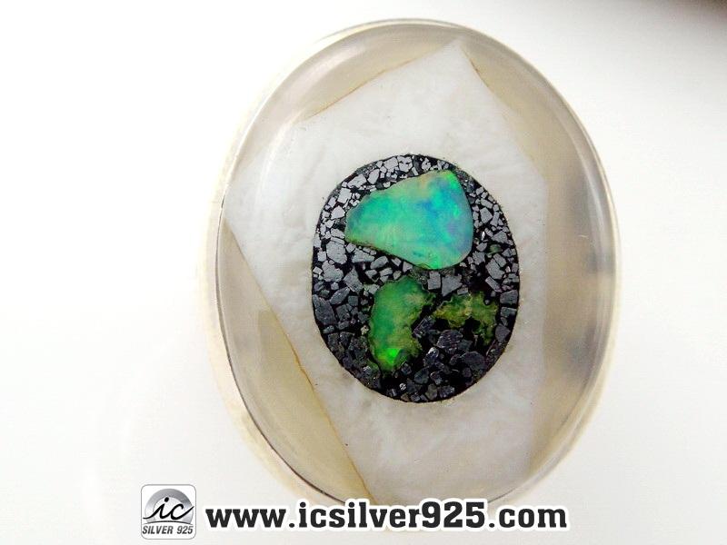 ▽โอปอลเอธิโอเปียในไพไรต์ (Ethyiopian Opal in pyrite) จี้เงินแท้ 925 (แหวนเบอร์ : 53 , 8.3g)