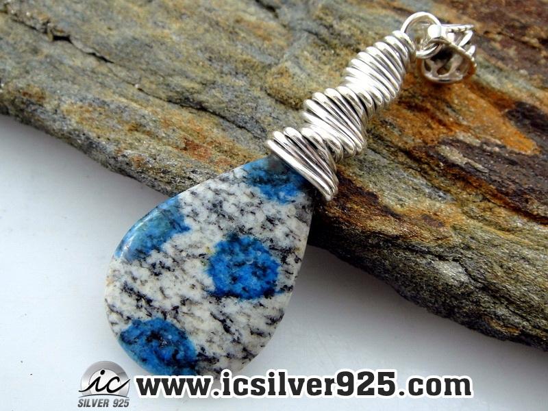 ▽K2 Blue (Azurite In Quartz) จี้เงินแท้ 925 (7.8g)
