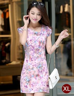 ชุดเดรสทำงานสวยๆ สีชมพู ลายดอกไม้ คอจีน ทรงตรงเข้ารูป แขนสั้น ผ้าคอลตอลยืด ซิปหลัง ไซส์ XL
