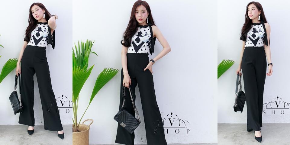 ชุดเซ็ทแฟชั่นสีดำ เสื้อ+กางเกงขายาว เสื้อลายกระต่ายน้อยทรงน่ารัก งานคัตติ้งสวย ทรงเป๊ะ ใส่ได้หลายโอกาส