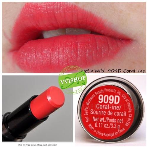 Wet n Wild Mega Last Lip Color 3.3 g # 909D Coral-ine ลิป สีส้มอมแดง