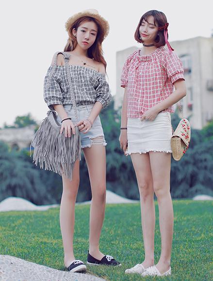 เสื้อแฟชั่นเกาหลีลายสก็อตมี 2 สี