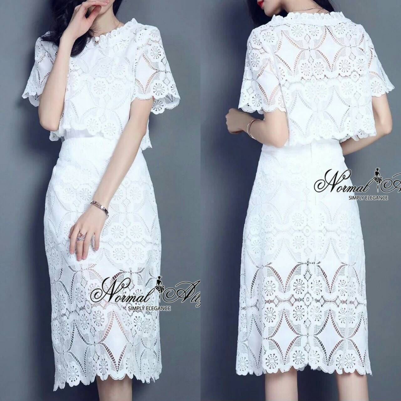 Normal Ally Present Boutique Lace White Shirt and Skirt