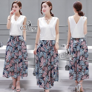 SV02310816 &#x1F389Sevy Two Pieces Of Sleeveless Blouse With Painted Flora Pants Sets Type: Blouse+Pants