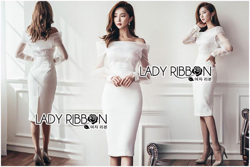 ชุดเดรสแฟชั่น เดรสเกาหลีเดรสผ้าเครปตกแต่งออร์แกนซ่าสีขาวทรงเปิดไหล่