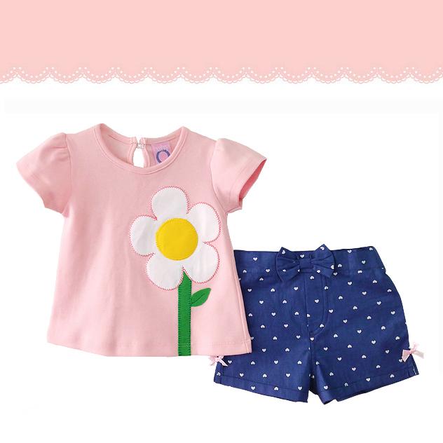 เสื้อผ้าเด็กขายส่ง ชุดเด็กหญิงกางเกงขาสั้น เสื้อปักดอกไม้สวยหวาน Size 12, 18, 24 เดือน