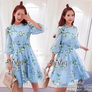 2Sister Made, Sweet Lovely Cuties Blue Wonder Dress เดรสสั้นลุคสาวหวาน ผ้าchiffonพริ้วบางเบาพิมพ์ลายดอกสวยทั้งตัว