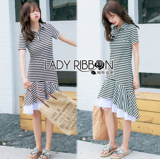 Lady Ribbon Online เสื้อผ้าออนไลน์ขายส่ง lady ribbon เสื้อผ้า LR15150816 Dress เชิ้ตเดรสลายทางตกแต่งชายระบายสไตล์มินิมัล
