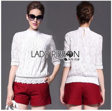 Lady Ribbon Online ขายส่งเสื้อผ้าออนไลน์ ขายส่งของแท้พร้อมส่ง Lady Ribbon LR06250717 &#x1F380 Lady Ribbon's Made &#x1F380 Lady Alessandra White Lace Blouse เสื้อลูกไม้สีขา