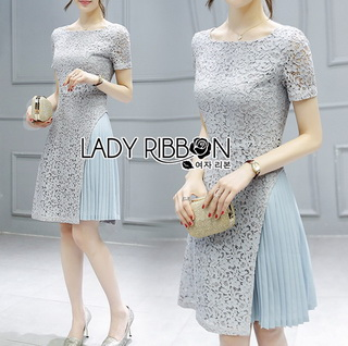 LR15290816 &#x1F380 Lady Ribbon's Made &#x1F380 Lady Feminine Baby Blue Lace and Pleated Cotton Dress