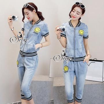 Lady Ribbon พร้อมส่งเสื้อผ้าออนไลน์ SV10130716 &#x1F389Sevy Two Pieces Of Yellow Smile Stripes Edge Jacket With Pants Sets