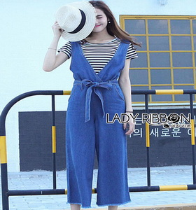 Lady Ribbon Striped and Denim Jumpsuit with Ribbon