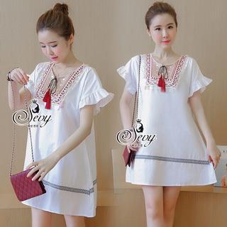 SV05310816 &#x1F389Sevy Embroidered Bohemian Casual Mini Dress Type: Mini Dress