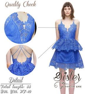 2Sister Made, Blue Mini Sexy Beauty Dress เดรสหรูสไตล์แบรนด์ดัง เนื้อผ้าลูกไม้เกรดดี ดีเทลสายเดี่ยว