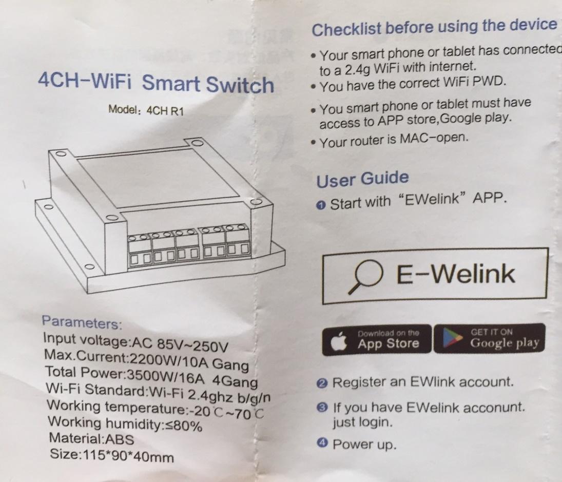 Sonoff 4CH WiFi Switch+ พร้อม REMOTE (รุ่น Arduino)