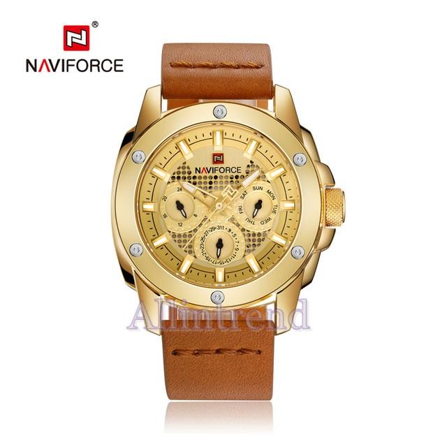 นาฬิกา Naviforce รุ่น NF9116M สีทอง/น้ำตาล ของแท้ รับประกันศูนย์ 1 ปี ส่งพร้อมกล่อง และใบรับประกันศูนย์ ราคาถูกที่สุด