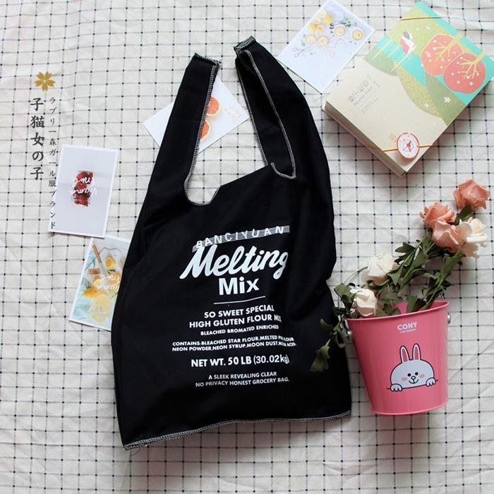 กระเป๋าช้อปปิ้ง/ถุงผ้าพิมพ์ลาย (มีให้เลือก 3 สี)