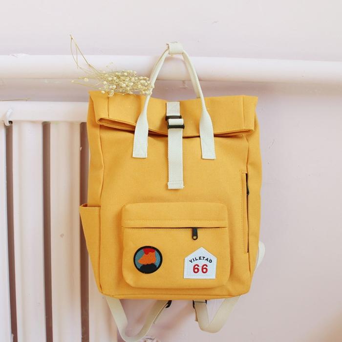กระเป๋าเป้ผ้า Canvas แต่งลาย (มีให้เลือก 6 สี)
