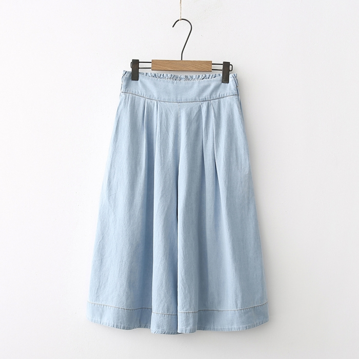 กางเกงยีนส์ขาบาน เอวยืด (มีให้เลือก 2 สี)