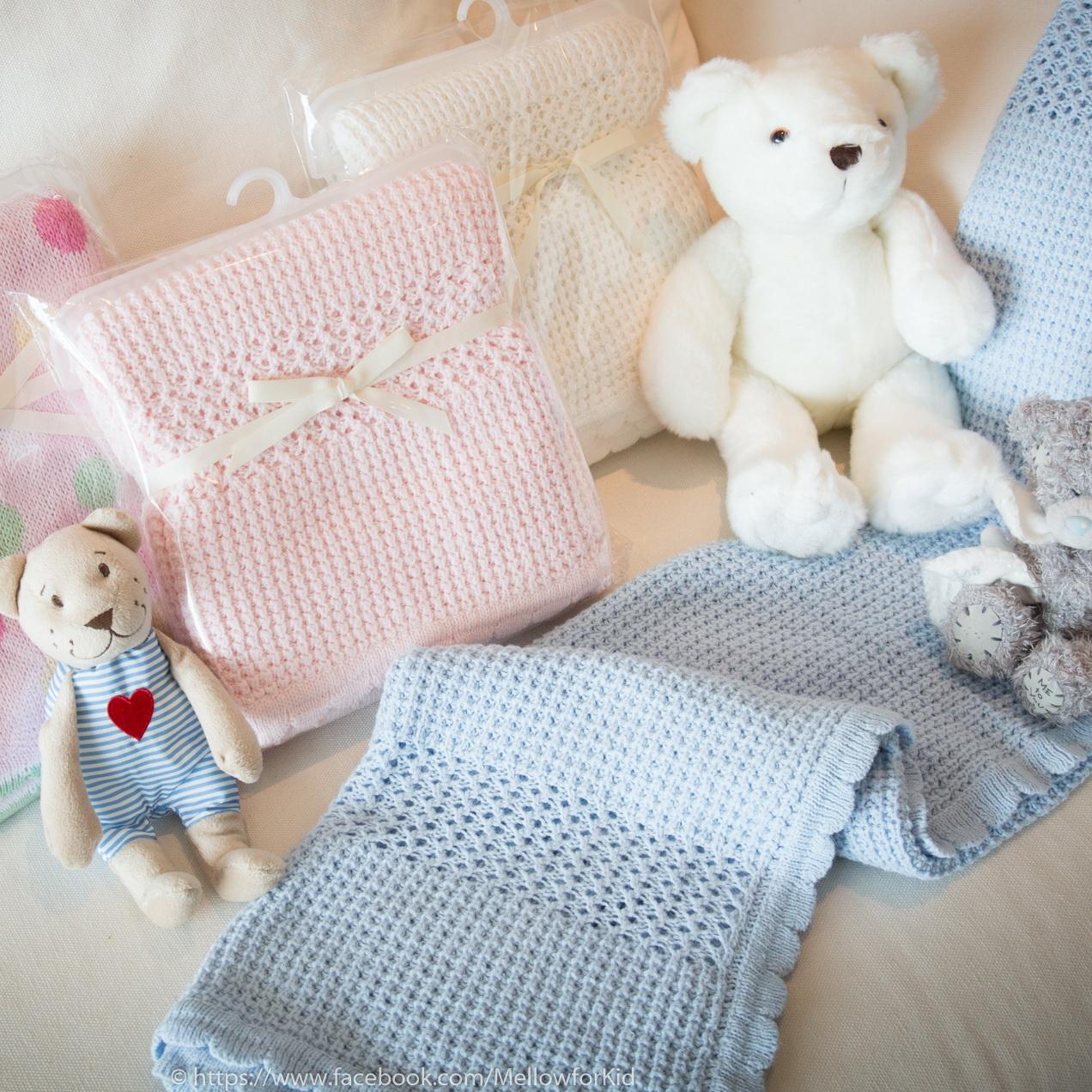 ผ้าห่มไหมพรมสีพื้น สีฟ้า