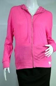 PINK แจ็คเก็ตกันลม มีฮูด ผ้ายืด สีชมพูสด