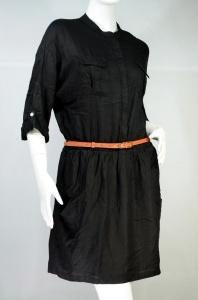 NUMBER 95 ชุดแซกสีดำคอจีน ผ้าลินิน เอวจั๊ม กระโปรงบาน (มาพร้อมเข็มขัดหนังเก๋ๆ)