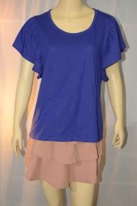 EASY PIECES เสื้อยืด ทรงเบลาซ์ สีม่วง แขนระบายสั้น