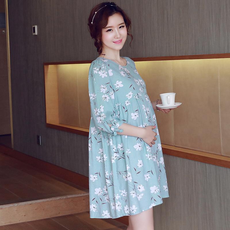 เสื้อคลุมท้อง แขน 3 ส่วน สีฟ้าลายดอกไม้