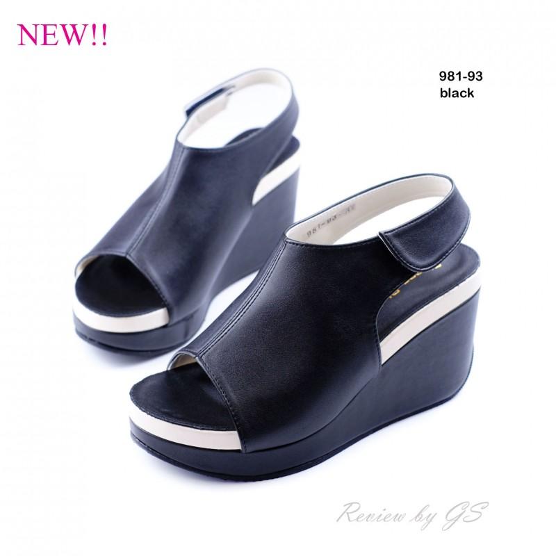 พร้อมส่ง รองเท้าลำลอง รัดส้น 981-93A5-BLK [สีดำ]