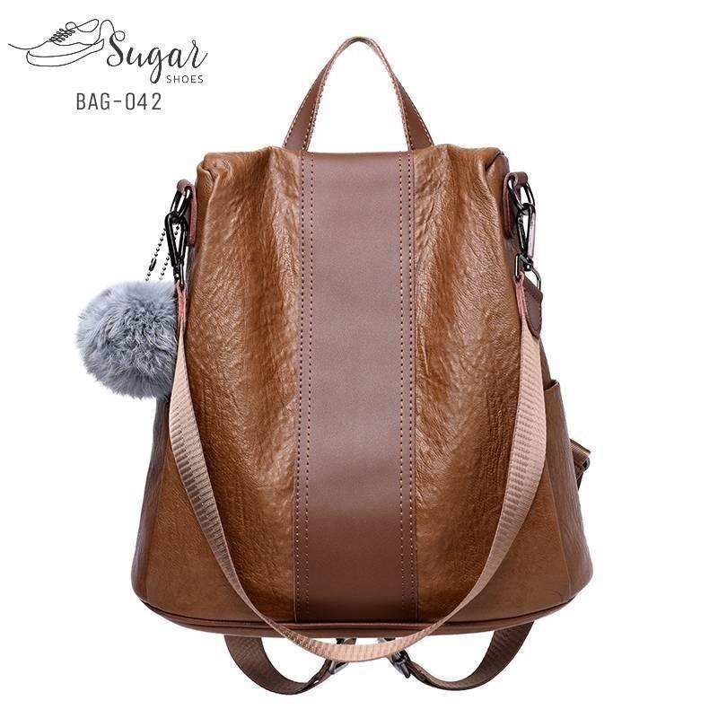 แบบมาใหม่ ทรงสุดฮิต กระเป๋าเป้ผู้หญิงหนังแถมพวงกุญแจสุดน่ารัก BAG-042-แดง (สีแดง)